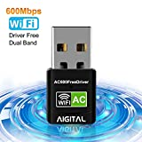 Aigital WiFi Adapter 600Mbps Wireless Network USB Dongle 5GHz Dual Band(433Mbps+150Mbps) Long Range Wifi Stick for PC/Laptop/Desktop/Tablet Support Window 10/8/7/Vista/XP-No CD Disk