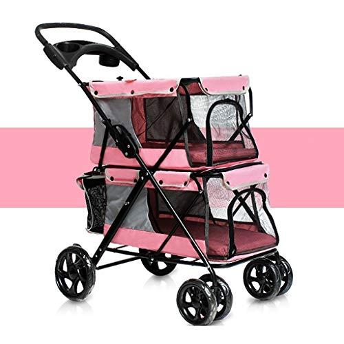 HYYGMT-1 Hond Mobility Harnas, Honden Kinderwagens, Hond rolstoel Huisdier Travel Stroller, Hond kat Gemakkelijk Vouwen Dubbele Huisdier Trolley Honden Grote Ruimte Karren Vier Rondes van Outdoor Travel Supplies (79 * 52 * 105CM), roze