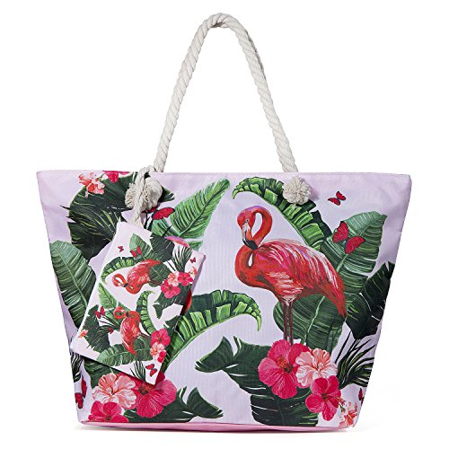 Diealles Bolsa de Playa de Lona Mujer Grande, Bolsa de Playa Grande con Cremallera para Mujeres y Niñas - Style2