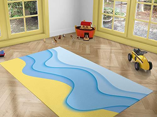 Oedim Alfombra Infantil Ondas Azul y Amarillo para Habitaciones PVC | 95 x 120 cm | Moqueta PVC | Suelo vinílico | Decoración del Hogar | Suelo Sintasol | Suelo de Protección |
