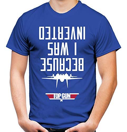 Top Gun Männer und Herren T-Shirt   Spruch Maverick Tom Cruise Geschenk   M2 (L, Blau)