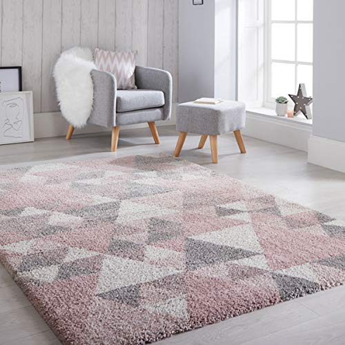 Flair Rugs Dakari Nuru - Alfombra geométrica, color rosa, crema y gris, 160 x 230 cm