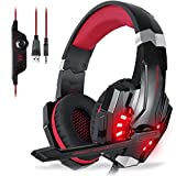 Micro Casque PS4 Gaming, Casque Audio Stéréo Basse avec LED Lumière, Casque Gaming Bien Anti-Bruit, Casque Gamer Confortable Compatible pour PS4/PC/ Laptop/Tablette/ Smartphone (Noir+Rouge)