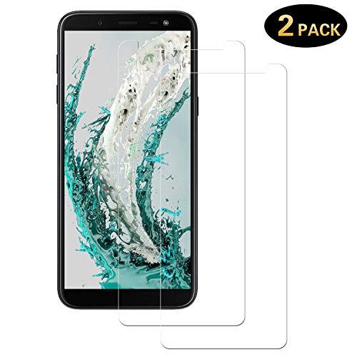 DOSMUNG Panzerglas Schutzfolie für Galaxy J6 2018, [2 Stück] HD Panzerglasfolie für J6 2018, [Ultra-klar] [Anti-Kratzer] [Bläschenfrei] [9H Festigkeit] Bildschirmschutzfolie für Samsung Galaxy J6 2018