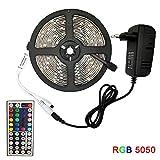 QPOWY Tira de luz LED RGB 5050 SMD Cinta Flexible Tira de luz led RGB 5M 10M 15M Diodo de Cinta DC 12V + Control Remoto + Adaptador
