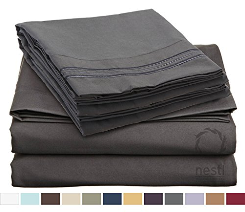 HIGHEST QUALITY Bed Sheet Set, #1 on Amazon, Queen Size, Charcoal Stone Gray, - Super Soft, Silky Coziest Sheet – SALE! - Better than Cotton, Will Fit Deep Pocketed Mattresses - Wrinkle, Stain and Fade Resistant Hypoallergenic Fabric - Set Includes Luxury Fitted and Flat Sheets and Pillow Cases. Ideal for Your Bed! Best for Your Bedroom, Guest or Children's Room, Vacation Home and RV - Makes an Excellent Gift - LIFETIME 100% Included - Nestl Bedding