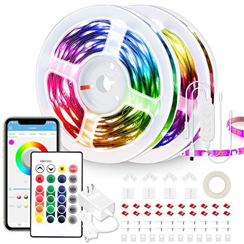 65.6ft LED Strip Lights Ultra-Long LED Lights Strip Music Sync App Control with Remote, 600LEDs RGB LED Lights for Bedroom, DIY Color Options LED Tape Lights for Bedroom Ceiling Under The Cabinet