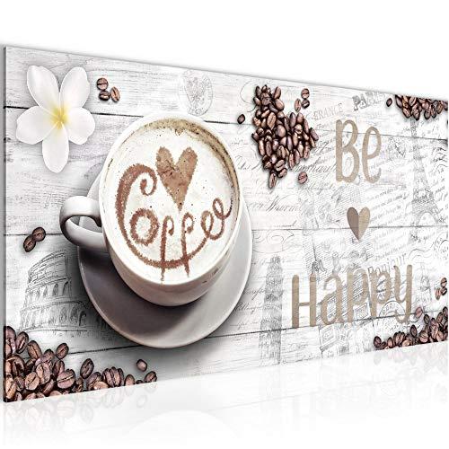 Wandbilder Küche Kaffee Modern Vlies Leinwand Wohnzimmer Flur Be Happy Weiss 020712b