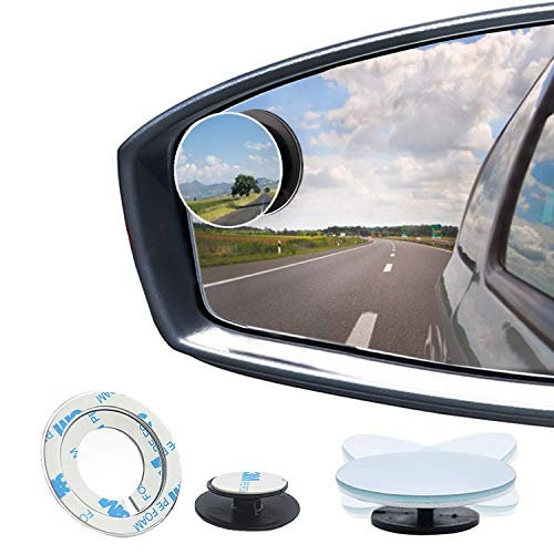 Blind Spot Mirrors - Round HD Glass Convex Wide Angle Rear View Blindspot Side Eliminator Mirror with Adjustable Stick Base Universal for Cars SUV and Trucks