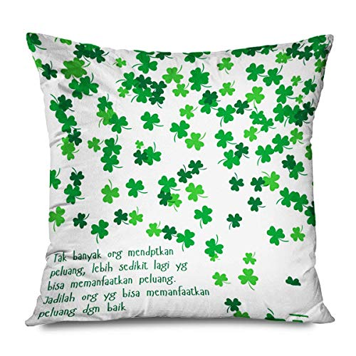 Throw Pillow Cover Quotes Happy ST Patricks Day Hojas Verdes Clover Stpatricks Funda de Almohada Decorativa para sofá Sofá Dormitorio Sala de Estar