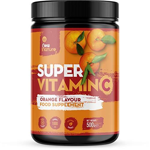 Super Vitamin C Powder (Orange Flavour) - 1000mg Vitamin C + Zinc, Vitamin D, B12 & Selenium - 100 Servings, 500 Grams