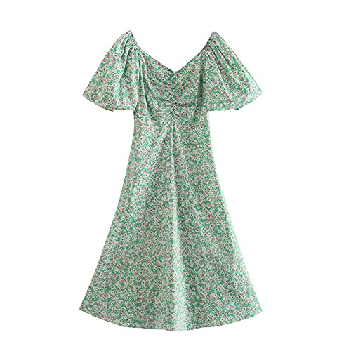 Heimaolvczlyq Vestidos Señora, Vestido de Primavera y Verano para Mujer Temperamento Multicolor Retro Romántico Floral Linterna Vestido de Manga Mujer (Color : Green, Size : X-Small)
