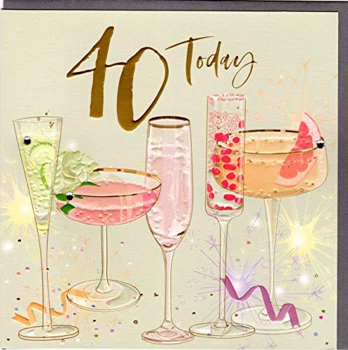 Belly Button Designs hochwertige Glückwunschkarte zum runden 40. Geburtstag (resedagold)