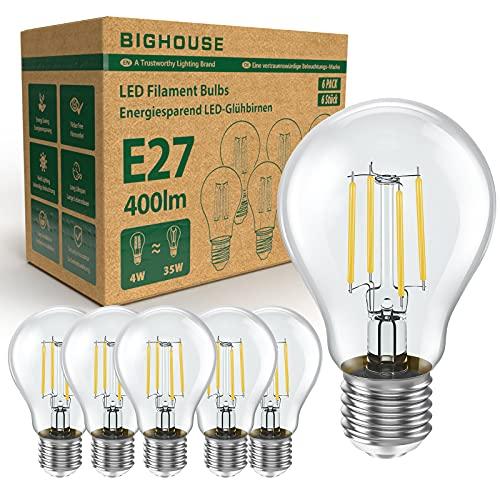 E27 LED Lampe, 4W Ersetzt 35W Halogenlampen, 400 Lumen, 2700K Warmweiß, Filament Klar, A60 Leuchtmittel, 6 Stück [Energieklasse A+]