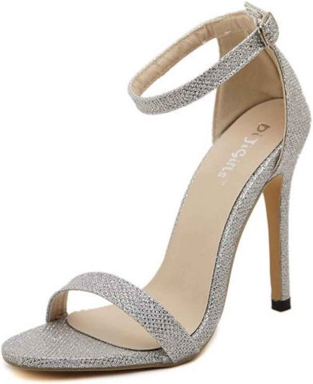 JQfashion Women's High Heels Sexy Roman Sandals Shiny Nightclub Pointed Thin Heels