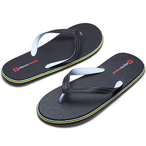 Alpine Swiss Men's Flip Flops Lightweight EVA Sandals Black 10 M US