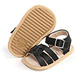 HsdsBebe Baby Boys Girl Sandals PU Leather with Grippers Soft Rubber Sole Anti-Slip Newborn Summer Beach Infant Dress Outdoor First Walking Shoes(M2006 black,3)