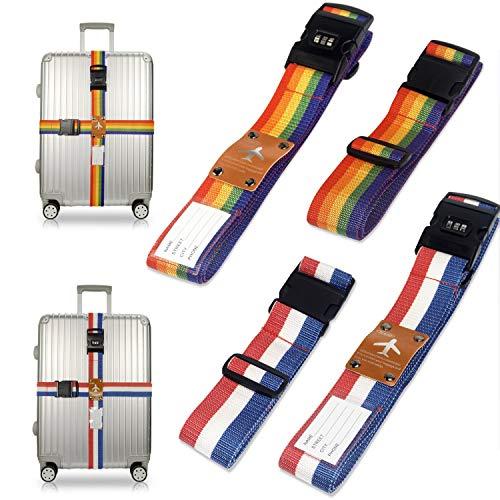 Koffergurt Kofferband, Suweir 4 Stück Koffergurte Kreuz Kofferanhänger Reisezubehör Rucksack Kofferanhänger Koffers auf Reisen Namensschild Kofferband Gepäckband zum Sicheren Verschließen Regenbogen