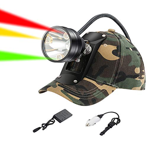 GearOZ Coon Hunting Lights Headlamp for Coyotes Hog Predators, Rechargeable & Waterproof, 6 Lighting Modes, 4 Powerful LEDs (White Red Green Amber) with Camo Hunting Hat Perfectly for Night Working