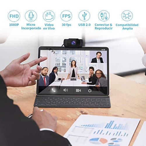 Wansview Webcam, Full HD 1080P mit Mikrofon, tragbare Webcam für PC, mit USB 2.0, Streaming-Kamera mit Rauschunterdrückung für Videoanrufe, Aufnahmen, Konferenzenaufnahmen mit drehbarem Clip