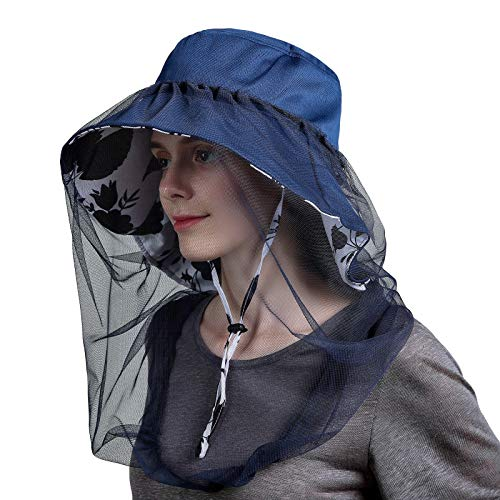 Women's Sun Hat Wide Brim with Detachable Mosquito Head Net Neck Flap Size Adjustable (Navy Blue)