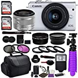Canon EOS M200 Mirrorless Digital Camera (White) Premium Accessory Bundle with Canon EF-M 15-45mm is STM Lens (Silver) + CC2 Case + 64GB Memory + HD Filters + Auxiliary Lenses