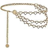 Suyi Cinture con Catena A Cuore per Donna Cintura A Catena in Oro A Catena Multistrato Plus Size 130CM Gold