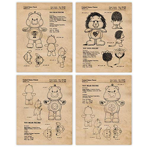 Vintage Care Bears Patent Prints, Set of 4 (8x10) Unframed Photos, Wall Art Decor Gifts Under 20 for Home, Office, Bedroom, Children, Student, Teacher, Cartoon Animals & Toys Fan