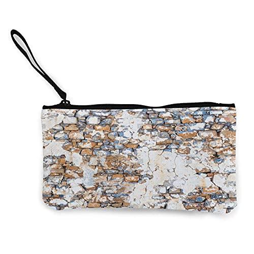 Coloreado piedra textura de la superficie de ladrillo retro monedero de la lona bolsa de cambio de la lona bolso de la cartera de la moda pequeño titular de la llave de la cremallera para