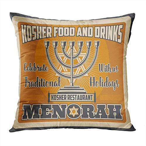 Moladika Throw Pillow Cover Square 18 x 18 Inch Hanukkah Cuisine Kosher Restaurant Traditional Cushion Home Decor Living Room Sofa Bedroom Office Polyester Pillowcase
