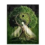 Kit de pintura digital para adultos y niños, pintura por número, pintura al óleo acrílica DIY,Árbol verde de Tai Chi,regalos de decoración del hogar40x50cm Sin marco