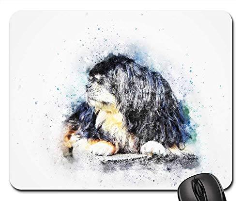 Gaming-Mauspads, Mauspad, Hund Tibet Tibet Spaniel Pet Art Abstract Vintage