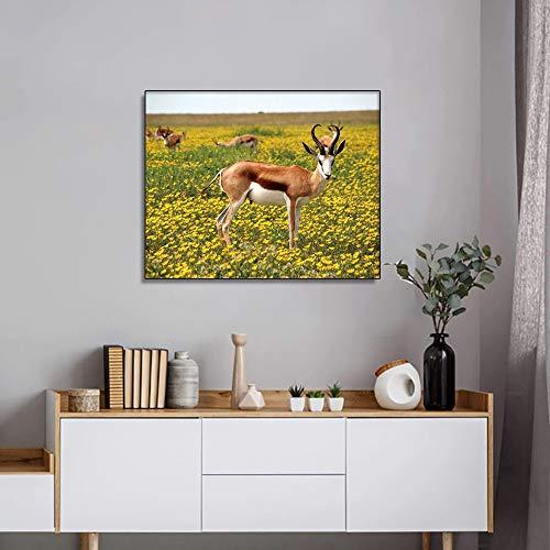 Primavera Animal Posters e Impresiones decoración Moderna para el hogar Pintura Sala de Estar Dormitorio jardín Ciervos Imagen Mural sin Marco Pintura 75x100cm