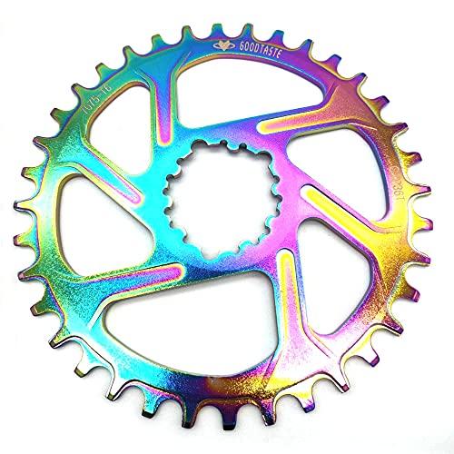 SXCXYG Platos para Bicicletas Bicycle Cainring Rainbow 32T / 34T / 36T / 38T Caining de Bicicleta de Ancho Estrecho Plato Ovalado 32 MTB (Color : 34T 6mm)