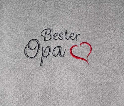 Besticktes Handtuch Bester Opa mit Herz Frotteetuch Geschenk - Hochwertige Quailität