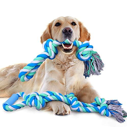 Nobleza - Hundespielzeug Seil für Starke große Hunde, interaktives Seil für Aggressive Kauen, 70cm+50cm, Zerrspielzeug Hund Robuste Kauspielzeug 5+2 Knoten Tau für mittlere und große Hunde