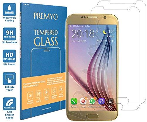 PREMYO Lot de 2 Verre Trempé Film Protection Écran Compatible avec Samsung Galaxy S6 Dureté 9H Bords 2,5D Anti-Rayures sans Bulles Résistant