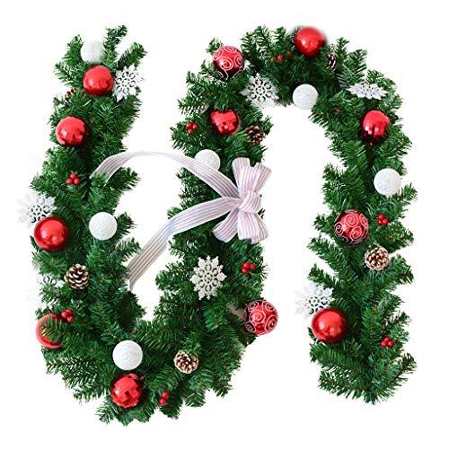 YuanYu Christmas Flower Vine, Christmas Supplies 2.7 M Snowflake Bow Christmas Rattan Door Hanging Diy Christmas Decorations Christmas utenciles (Color : A)