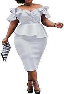 VERWIN Plus Size Women's Midi Dress Patchwork Short Sleeve Women's Bodycon Dress High Waist Dress