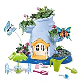 CONII Kids | Fairy Garden Kids Gardening Kit - Indoor Outdoor Gardening Set for Kids with Soil, Gardening Seeds, Mini Gardening Tools - Kids Planting Kit with Flittering Lights and Music (Pink)