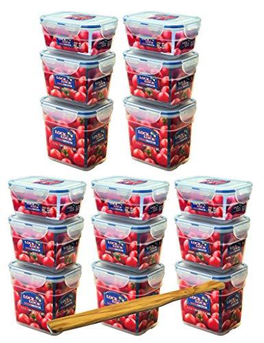 Lock&Lock Frischhaltedosen-Set 15-teilig gleiche Deckel (5X 550ml-Box, 5X 800ml-Box, 5X 1L-Box) stapelbar, leer ineinander schachtelbar und SeleXions Multifunktion Olivenholz Spachtel