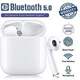 ZYue Bluetooth 5.0 Kopfhörer TWS i12 3D Stereo Sound Sicherer Sitz Touch Control IPX7 Wasserdichte Drahtlos Ohrhörer für Arbeiten und Sports Pop-Up Auto Pairing für Musik-Weiß