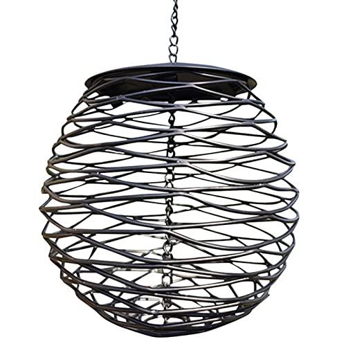 Comedero para pájaros para exteriores, para colgar, de metal, redondo, resistente al viento, duradero