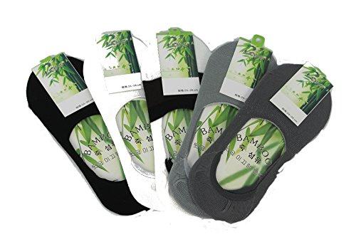 Calcetín Invisible pura fibra de bambú, 100% natural, Anti bacterias y Anti Allergenique. (Paquete de 5)