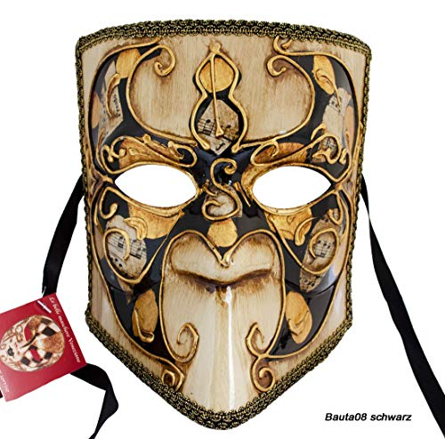 LannaKind Venezianische Gesicht Maske Casanova Bauta Ballmaske Karneval Fasching Herren (Bauta08)