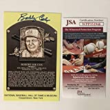 Autographed/Signed Bobby Cox HOF Hall Of Fame Baseball Plaque Postcard JSA COA