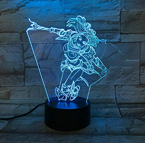 Kreative League of Legends Helden Helle Frauen Action Figure Led 3D Nachtlichter 7 Farben Illusion Freunde Geschenke LOL Lax Silk Nachtlichter