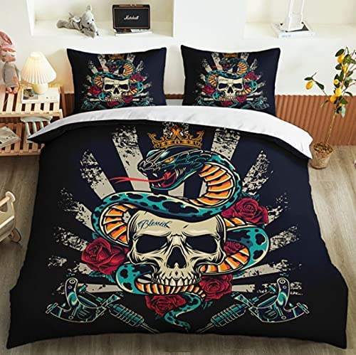 ysldtty 3D Bedding Set Cartoon Modern Punk Sugar Skull Skeleton Decoration Pillowcase Duvet Cover Set H3940U 220CM x 240CM With 2 pice pillowcase 50CM x 75CM
