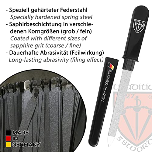 3 Swords Germany - brand quality double sided (fine & coarse) SAPPHIRE POCKET NAIL FILE manicure pedicure grooming for professional finger & toe nail care by 3 Swords, Made in Solingen Germany (82501)