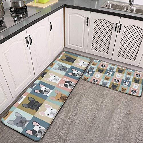 Kitchen Rugs and Mats Set of 2,French Bulldog Portraits Pattern Dog Cushioned Anti-Fatigue Doormat with Non Skid Rubber for Kitchen,Floor Home,Office,Sink, Laundry,Grey Entrance Carpet